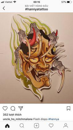 Hannya Mask Tattoo, Oni Mask, Skull Mask, Hana Tattoo, Mascara Hannya, Punch And Judy, Asian Tattoos, Oriental Tattoo, Masks Art