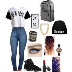 jordan futures outfits - Google Search Cute Outfits For School, New Outfits, Jordan Outfits For Girls, Swag Girl Outfits, Dope Outfits, Everyday Outfits, Casual Outfits, Cute Outfits With Leggings, Cute Skirt Outfits