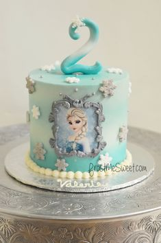 Girls Cakes- Pop Culture Frost Me Sweet Girls 2nd Birthday Cake, Elsa Birthday Cake, Round Birthday Cakes, Frozen Themed Birthday Cake, Frozen Theme Cake, Themed Cakes, Bolo Frozen, Frozen Cake Pops, Elsa Frozen Cake