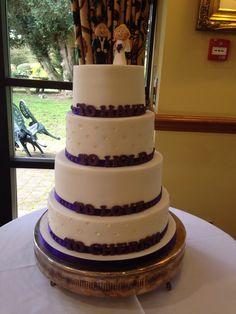Purple 4 tier wedding cake