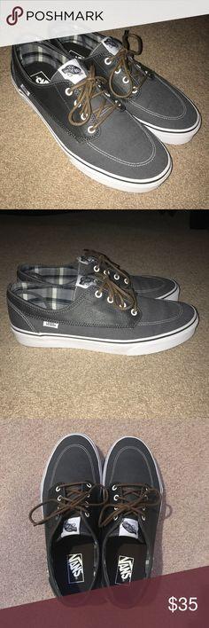 Vans Brigata Gray Leather & Canvas Men's 11 Vans' version of boat shoes, gray leather and canvas outside, plaid inside, Men's size 11, worn once Vans Shoes Boat Shoes
