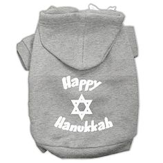 Mirage Pet Products Happy Hanukkah Screen Print Pet Hoodies, X-Small, Grey