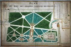 Chantilly Castle, map of the park - the wood of the great waterfalls, the great fountain and the Mance pavilion, 1694 (w/c & ink on paper)