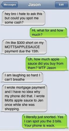This would happen to me except I'd be serious about the applesauce...