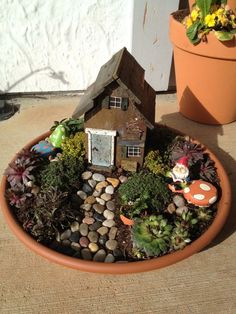 Instead of a fairy garden, we decided to do a gnomey home.