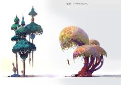 Trees - Stylized concept designs by Vienna/Lisbon, Austria based concept artist and visual developer Lip Comarella. Some of the very unique and stylish concepts for trees with beautiful shapes and colors.