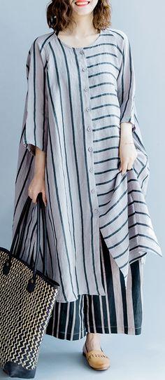 New gray striped linen dresses asymmetric patchwork o neck dress - Damen Mode 2019 Hijab Fashion, Boho Fashion, Fashion Dresses, Fashion Design, Fashion Clothes, Kurta Designs, Blouse Designs, Mode Hijab, Striped Linen