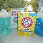 Homemade Laundry Detergent  3 tablespoons borax   3 tablespoons washing soda   2 tablespoons Original Blue Dawn dishwashing liquid  Find a one-gallon container with a tight-fitting lid. Pour in the borax, washing soda and liquid Dawn. Add two cups of very hot water. Apply the lid and shake until the soda and borax have dissolved. Now fill the container with cold water. Reapply the lid, label and you're done. To use: Add 1 to 2 cups to each load of laundry depending on the size and soil…