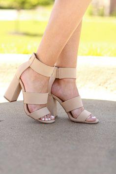 Single Sole Ankle Strap Chunky Heels NUDE | MakeMeChic.COM