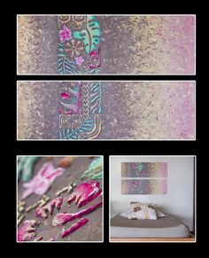 """A part of me"" Acrylique sur 2 toiles 30x90cm - Motifs en relief - Made in Tahiti"