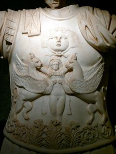 breast plate with Gorgoneion and Herakles flanked by two griffins; armoured statue of Emperor Traianus, detail. From Perge, Anatolia; Attaleia Archeological Museum
