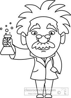 Science : scientist holding beaker Clip art Digital stamps Digi stamps