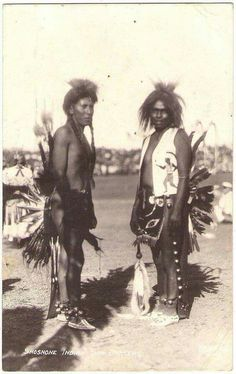 SHOSHONI Indian Sun Dancers, c.1930. Real Photo Postcard edited before 1941.