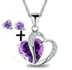Rhodium Plated 925 Silver Diamond Accent Amethyst Heart Shape Pendant Necklace 18  #Rhodium_Plated_Silver_Diamond_Accent_Heart #chains #necklaces# jewelry# accessories #rings #pendants