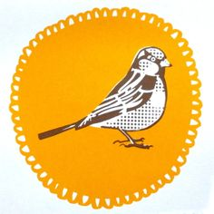 FOLKSY! Summer Sunny Sparrow Yellow Bird Original Limited Edition Art Screen Print  £15.00