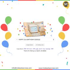 Today is Google's 21st birthday. Thanks for making our life easier by solving all our doubts and problems.  #HappyBirthdayGoogle #GoogleDoodle #GoogleForIndia #FridayFeeling #SearchEngineOptimization #agencylife #DigitalMarketing Happy Birthday Google, Happy 21st Birthday, Website Design Services, Google Doodles, Describe Yourself, Digital Marketing Services, Search Engine Optimization, Web Development, Service Design