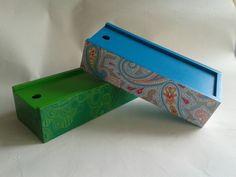 Cajas MDF, pintura acrilica, papel