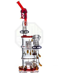 Pulse Glass - Red Elvis Stereo Perc Barrel Spill Dab Rig