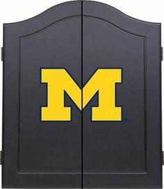 Sports Fan Michigan Wolverines Black Dart Board Cabinet - #onewayfurniture #dreamroom