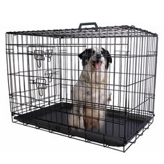 2 Doors Wire Folding Pet Crate Dog Cat Cage Suitcase Kennel Playpen W Tray Wire Door Metal Safer For Puppy Waterproof And Anti-Rust Easy Cleaning Brand New ** See this great image : Dog cages Diy Dog Kennel, Pet Kennels, Dog Cages, Pet Cage, Pitbull, Food Dog, Cat Crate, Cat Fence, Dog Playpen