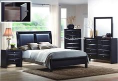 """http://homeforfuture.com/pinnable-post/4pcs-queen-size-bedroom-set-black-finish-2  You will receive a total of 1 queen size bed, 1 night stand, 1 dresser and 1 mirror. Headboard Height: 52""""H Dimension of the Night Stand: 26""""W x 17""""D x 26""""H Dimension of the Mirror: 39""""W x 35""""H Dimension of the Dresser: 59""""W x 17""""D x 41""""H Finish: Black Material: Wood / Leatherette 4pcs Queen Siz..."""