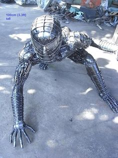 spiderman sculpture, life size metal art