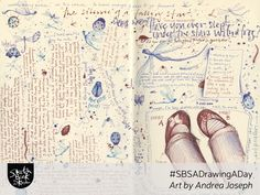 Door to the River by Andrea Joseph. Two pages filled with doodles and lettering. Moleskine Sketchbook, Moleskine Notebook, Sketchbooks, Andrea Joseph, Notebook Sketches, Notebook Drawing, Art Journal Pages, Art Journaling, Journal Ideas