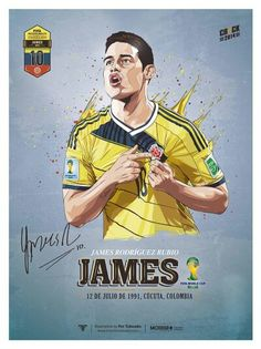 James Rodriguez of Colombia wallpaper. Madrid Football Club, Football Is Life, Football Art, Superstar Football, James Rodriguez Wallpapers, Colombia Soccer, Sports Advertising, Lionel Messi, Soccer Art