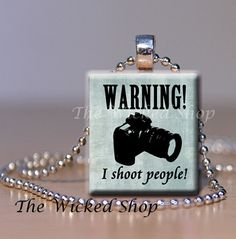 Scrabble Tile Pendant Warning I shoot people     by TheWickedShop, $8.95