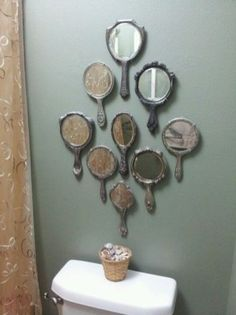 Old hand mirrors in my guest bathroom. gastebad handspiegel mineOld hand mirrors in my guest bathroom. gastebad handspiegel mineBathroom cabinets narrowBad-turn mirror rotating shelf wide 158 white ProbellProbellBuild a gutter river for playing Mirror Wall, Rustic Bathroom Designs, Diy Home Decor, Bathroom Decor, Home Diy, Hand Mirror, Salon Decor, Home Deco, Home Decor