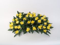 Not to be morbid but this is just gorgeous....Deluxe Rosebud Headstone Spray with Yellow Flowers -