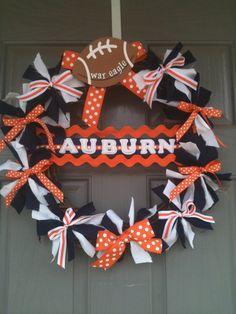 Auburn University wreath with monogrammed door hanger by joelybun, $54.00