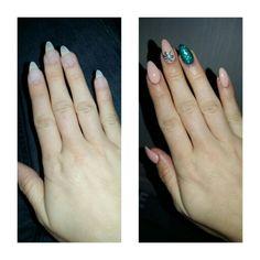 #nails #nude #green #glitter