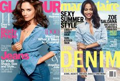 Katie Holmes on Glamour August 2014 (Photo: Glamour) Zoe Saldana on Marie Claire August 2014 (Photo: Boe Marion/MarieClaire)
