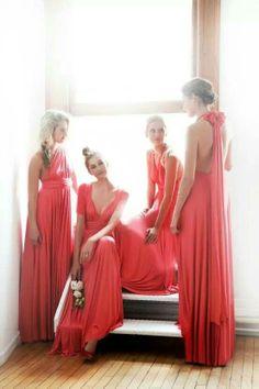 Convertible coral bridesmaid dresses