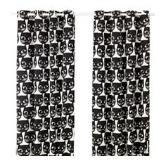 MATTRAM Rideaux, 1 paire, blanc, noir - blanc/noir - IKEA
