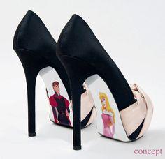 Custom hand painted Sleeping Beauty shoes. $45.00, via Etsy.