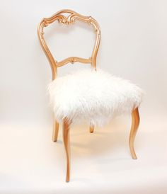 SO Flippin' Cute. Accent Chair - Gold Balloon Back Chair with White Faux Mongolian Fur Upholstery - Made to Order. $280.00, via Etsy.