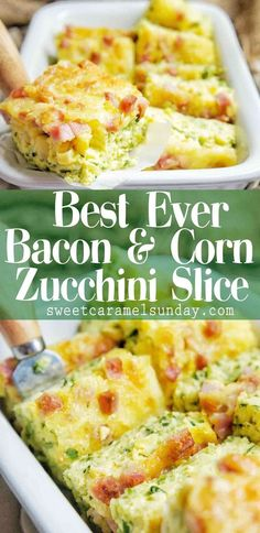 Gluten Free Zucchini Slice is an easy and delicious recipe that anyone can make With bacon, corn, cream and cheese, this 6 ingredient gluten free slice will have you coming back for seconds! Quiche Recipes, Brunch Recipes, Casserole Recipes, Breakfast Recipes, Cheese Recipes, Vegetable Slice, Vegetable Recipes, Gluten Free Zucchini Slice, Zuchinni Slice
