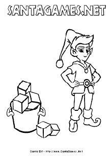 Ibereth, Santa Claus' elf - Christmas Coloring Page