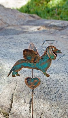 Dachshund ANGEL Dog Mini Pot Plant Stake PET MEMORIAL Garden Art Handmade Indoor or Outdoor  Copper Metal Home Decor. $39.95, via Etsy.