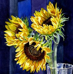Sunflowers Painting - Three Sunny Flowers by Irina Sztukowski