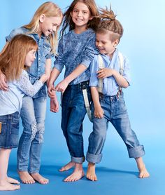 Katrina Tang Photography for Family&Home magazine Jeans 2015 kids fashion. Studio shoot with kids dressed in blue jeans, barefoot #katrinatang #tangkatrina