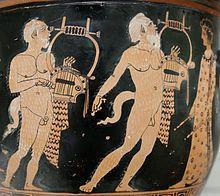 Silenus -     Papposilenoi on an Attic red-figure bell-krater attributed to Polion, c. 420 BC