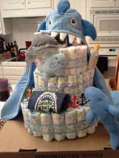 boy shark baby shower diaper cake!! Want this for my future baby shower!!! ahhh!
