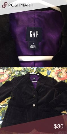Gap velvet blazer Chic velvet blazer with front pockets and purple silky lining. In good shape. Gap Jackets & Coats Blazers