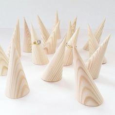 Wooden Ring Cones that tilt backwards slightly. Freehand design on a wood lathe. 1 Ringholder = 8 Euro 7.5cm height Diameter 35 mm Wooden