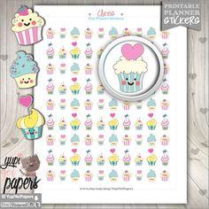 Cupcake Stickers, Cupcake Planner Stickers, Printable Planner Stickers, Planner Accessories, Erin Condren, Cute