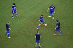 Italy warm up prior to the 2014 FIFA World Cup Brazil Group D match between England and Italy at Arena Amazonia on June 14, 2014 in Manaus, Brazil.