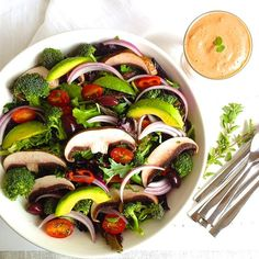 , red onion, olives, avocado, portobella mushrooms, red peppers ...
